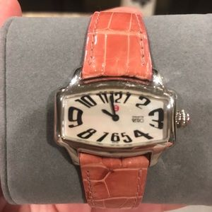 Michele Coquette Retro watch with pink strap